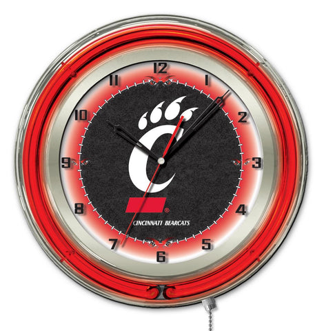 "Cincinnati Bearcats HBS Neon Red Black College Battery Powered Wall Clock (19"")"