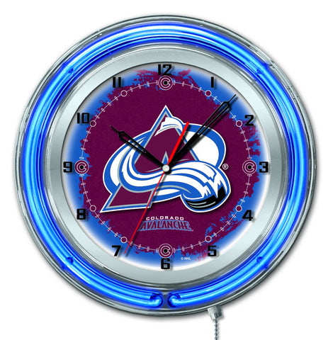 "Colorado Avalanche HBS Neon Blue Hockey Battery Powered Wall Clock (19"")"
