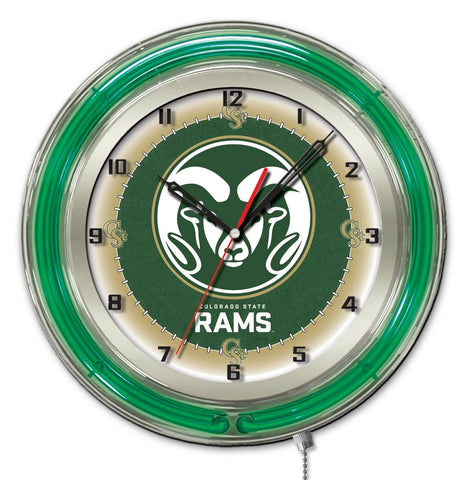 "Colorado State Rams HBS Neon Green Gold College Battery Powered Wall Clock (19"")"