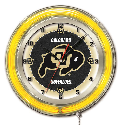 "Colorado Buffaloes HBS Neon Yellow College Battery Powered Wall Clock (19"")"