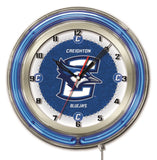 "Creighton Bluejays HBS Neon Blue College Battery Powered Wall Clock (19"") - Sporting Up"