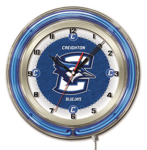 "Shop Creighton Bluejays HBS Neon Blue College Battery Powered Wall Clock (19"") - Sporting Up"