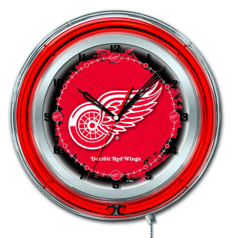 "Detroit Red Wings HBS Neon Red Hockey Battery Powered Wall Clock (19"")"