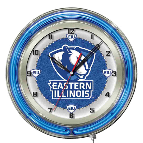 "Eastern Illinois Panthers HBS Neon Blue College Battery Powered Wall Clock (19"")"