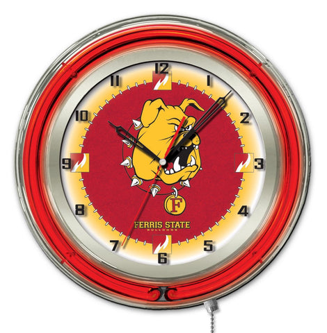 "Ferris State Bulldogs HBS Neon Red Gold College Battery Powered Wall Clock (19"") - Sporting Up"