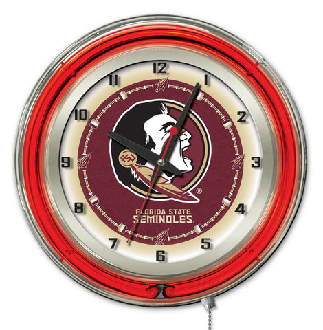 "Shop Florida State Seminoles HBS Neon Red Head Battery Powered Wall Clock (19"") - Sporting Up"