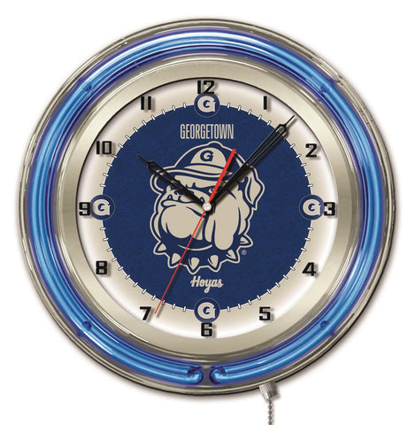 "Georgetown Hoyas HBS Neon Blue College Battery Powered Wall Clock (19"")"