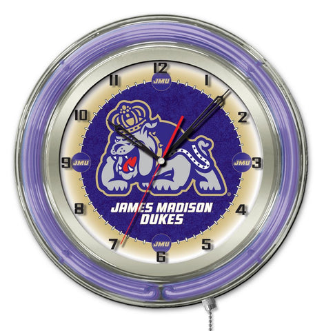 "James Madison Dukes HBS Neon Purple College Battery Powered Wall Clock (19"")"