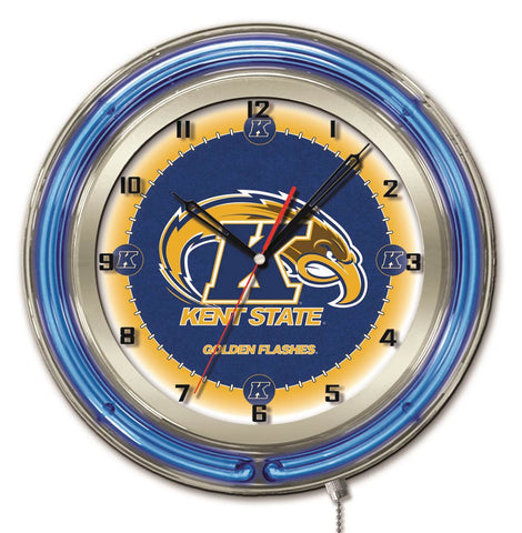 "Kent State Golden Flashes HBS Neon Blue College Battery Powered Wall Clock (19"")"