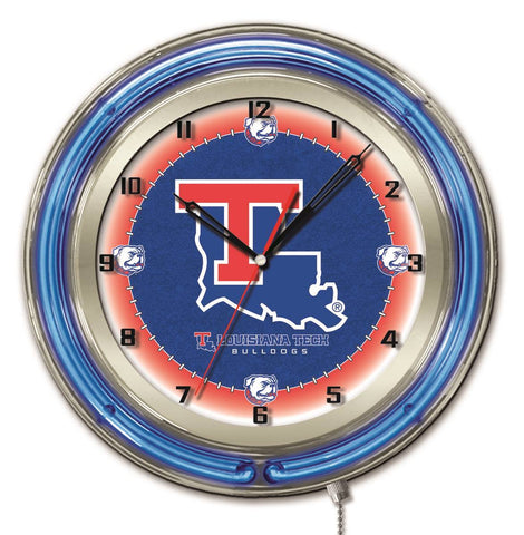 "Louisiana Tech Bulldogs HBS Neon Blue College Battery Powered Wall Clock (19"")"