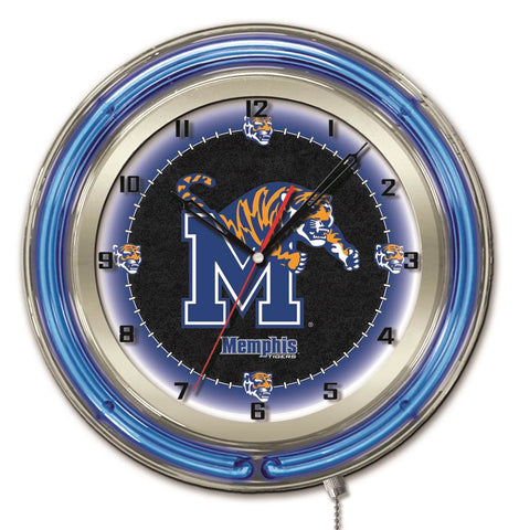 "Memphis Tigers HBS Neon Blue Black College Battery Powered Wall Clock (19"") - Sporting Up"