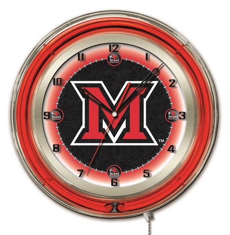 "Miami Redhawks HBS Neon Red Black College Battery Powered Wall Clock (19"")"