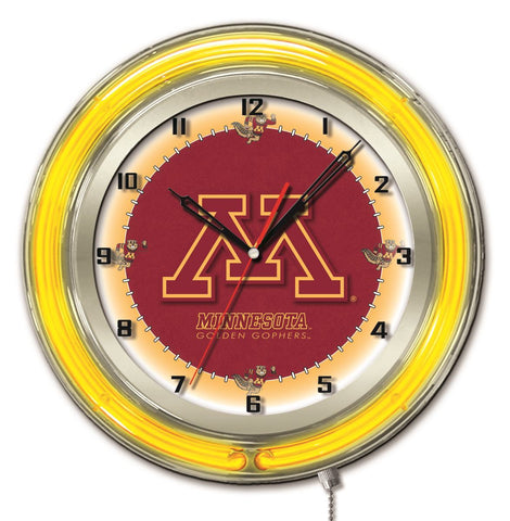 "Minnesota Golden Gophers HBS Neon Yellow Red Battery Powered Wall Clock (19"")"