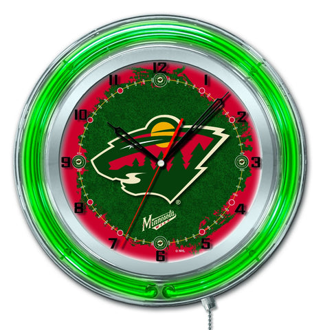 "Minnesota Wild HBS Neon Green Hockey Battery Powered Wall Clock (19"")"