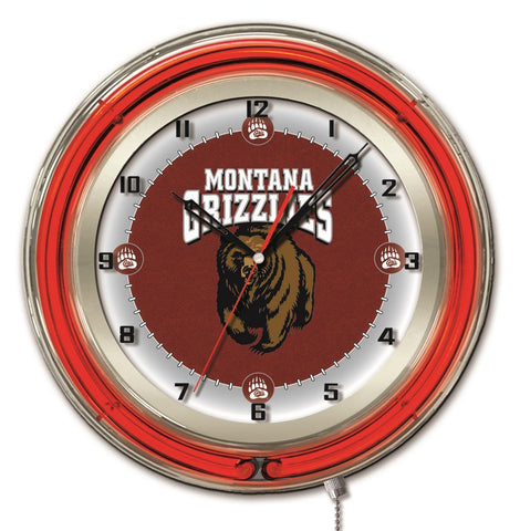 "Montana Grizzlies HBS Neon Red College Battery Powered Wall Clock (19"") - Sporting Up"