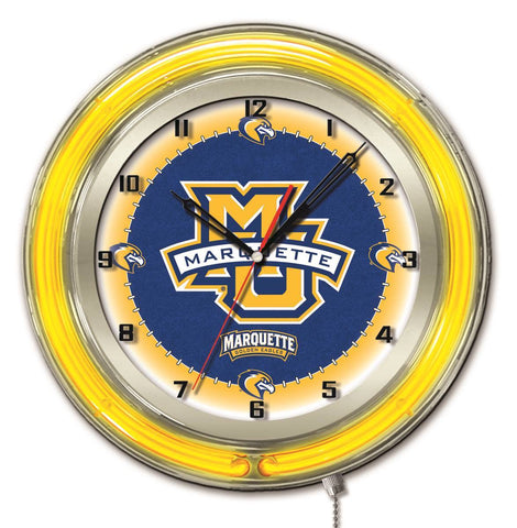 "Marquette Golden Eagles HBS Neon Yellow College Battery Powered Wall Clock (19"")"