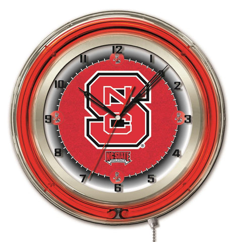 "NC State Wolfpack HBS Neon Red College Battery Powered Wall Clock (19"")"
