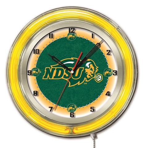 "North Dakota State Bison HBS Neon Yellow Battery Powered Wall Clock (19"")"