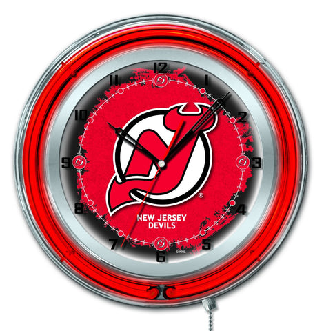 "New Jersey Devils HBS Neon Red Hockey Battery Powered Wall Clock (19"") - Sporting Up"