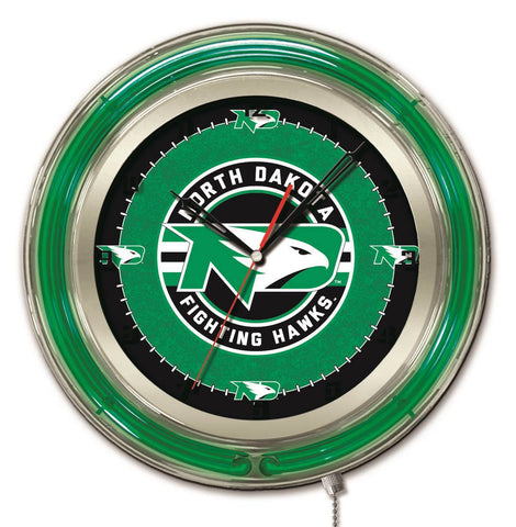 "North Dakota Fighting Hawks HBS Neon Green Battery Powered Wall Clock (19"") - Sporting Up"