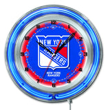 "New York Rangers HBS Neon Blue Hockey Battery Powered Wall Clock (19"") - Sporting Up"
