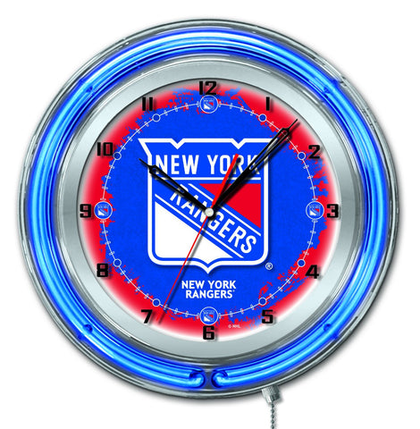 "New York Rangers HBS Neon Blue Hockey Battery Powered Wall Clock (19"")"