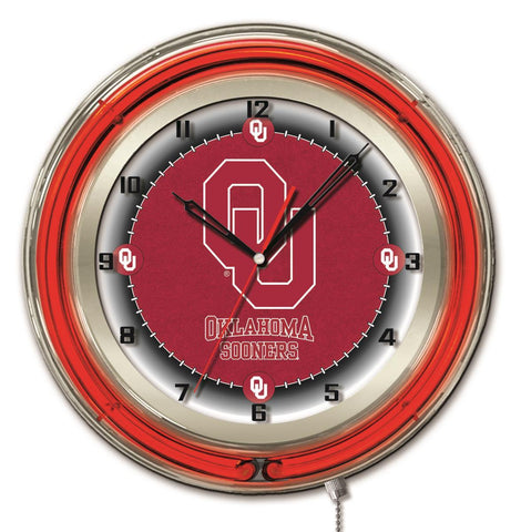 "Oklahoma Sooners HBS Neon Red College Battery Powered Wall Clock (19"") - Sporting Up"