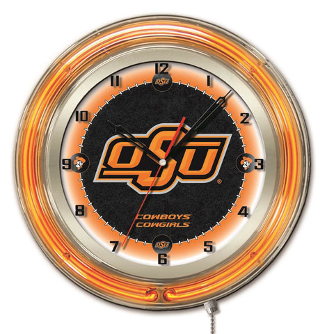 "Oklahoma State Cowboys HBS Neon Orange College Battery Powered Wall Clock (19"")"