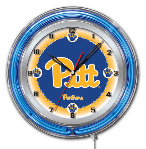 "Pittsburgh Panthers HBS Neon Blue College Battery Powered Wall Clock (19"")"