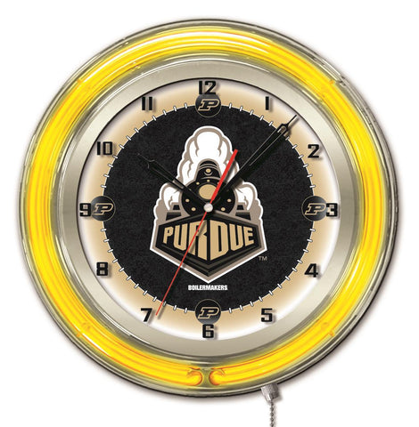 "Purdue Boilermakers HBS Neon Yellow College Battery Powered Wall Clock (19"")"