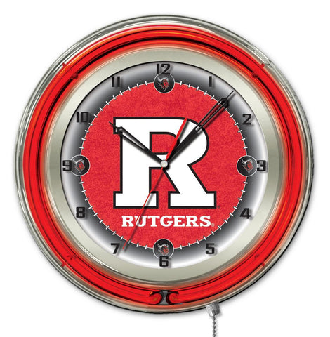 "Rutgers Scarlet Knights HBS Neon Red College Battery Powered Wall Clock (19"")"