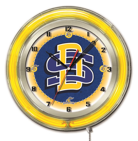 "South Dakota State Jackrabbits HBS Neon Yellow Battery Powered Wall Clock (19"")"