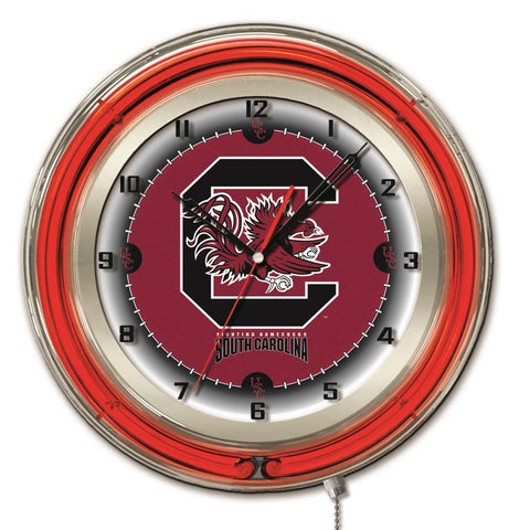 "South Carolina Gamecocks HBS Neon Red College Battery Powered Wall Clock (19"")"