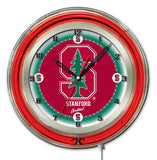 "Stanford Cardinal HBS Neon Red College Battery Powered Wall Clock (19"") - Sporting Up"