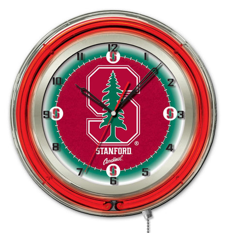 "Shop Stanford Cardinal HBS Neon Red College Battery Powered Wall Clock (19"") - Sporting Up"