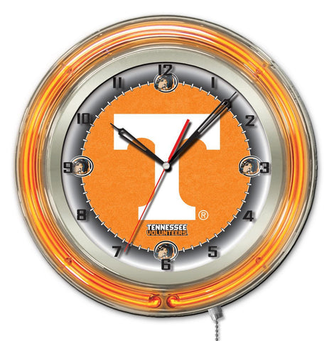 "Tennessee Volunteers HBS Neon Orange College Battery Powered Wall Clock (19"")"