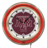 "Texas A&M Aggies HBS Neon Red Maroon College Battery Powered Wall Clock (19"") - Sporting Up"
