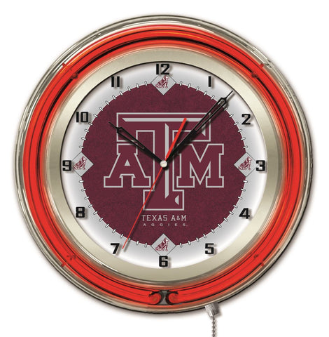 "Shop Texas A&M Aggies HBS Neon Red Maroon College Battery Powered Wall Clock (19"") - Sporting Up"