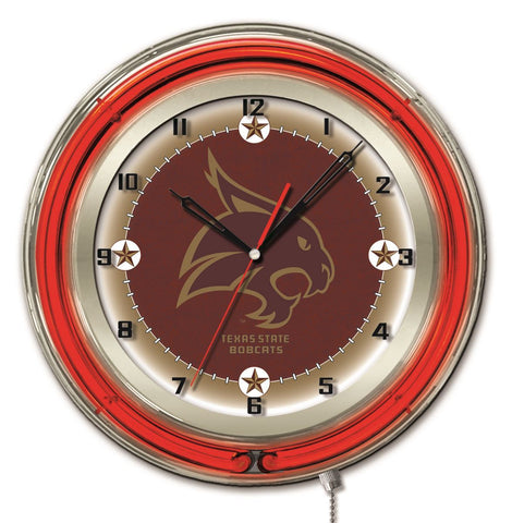 "Texas State Bobcats HBS Neon Red Maroon College Battery Powered Wall Clock (19"")"