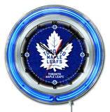 "Toronto Maple Leafs HBS Neon Blue Hockey Battery Powered Wall Clock (19"") - Sporting Up"