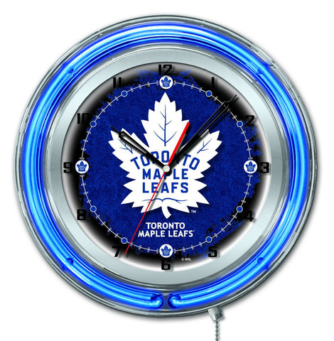"Shop Toronto Maple Leafs HBS Neon Blue Hockey Battery Powered Wall Clock (19"") - Sporting Up"