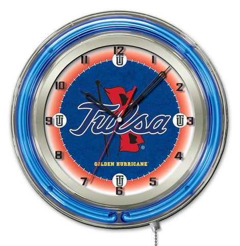 "Tulsa Golden Hurricane HBS Neon Blue College Battery Powered Wall Clock (19"")"