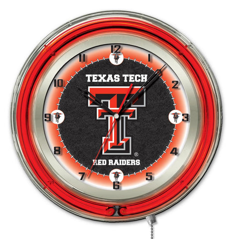 "Texas Tech Red Raiders HBS Neon Red College Battery Powered Wall Clock (19"")"