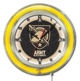 "Army Black Knights HBS Neon Yellow College Battery Powered Wall Clock (19"")"