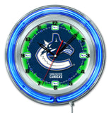 "Vancouver Canucks HBS Neon Blue Hockey Battery Powered Wall Clock (19"") - Sporting Up"