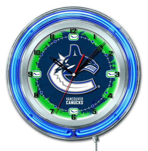 "Shop Vancouver Canucks HBS Neon Blue Hockey Battery Powered Wall Clock (19"") - Sporting Up"