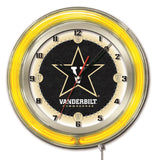"Vanderbilt Commodores HBS Neon Yellow College Battery Powered Wall Clock (19"")"