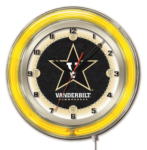 "Shop Vanderbilt Commodores HBS Neon Yellow College Battery Powered Wall Clock (19"")"
