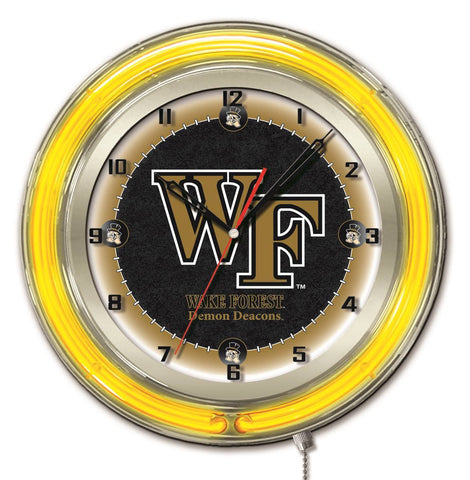 "Wake Forest Demon Deacons HBS Neon Yellow Battery Powered Wall Clock (19"") - Sporting Up"