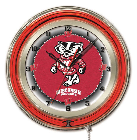 "Wisconsin Badgers HBS Neon Red Badger College Battery Powered Wall Clock (19"")"